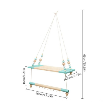 Blue Multifunctional Storage Shelf Nordic Display Wall Hanging Shelf Swing Rope Floating Shelves