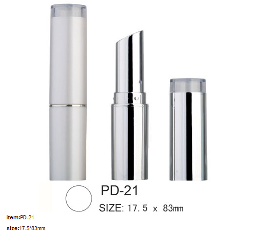 Round empty Silver plastic lipstick tube cosmetic packaging PD-21