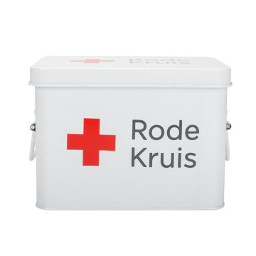 White First Aid Box Metal Tin Storage Box