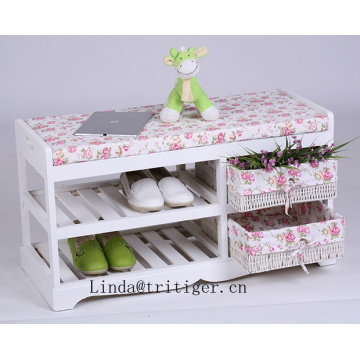 wooden storage bench with straw weave baskets with confortable sponge seat cushion
