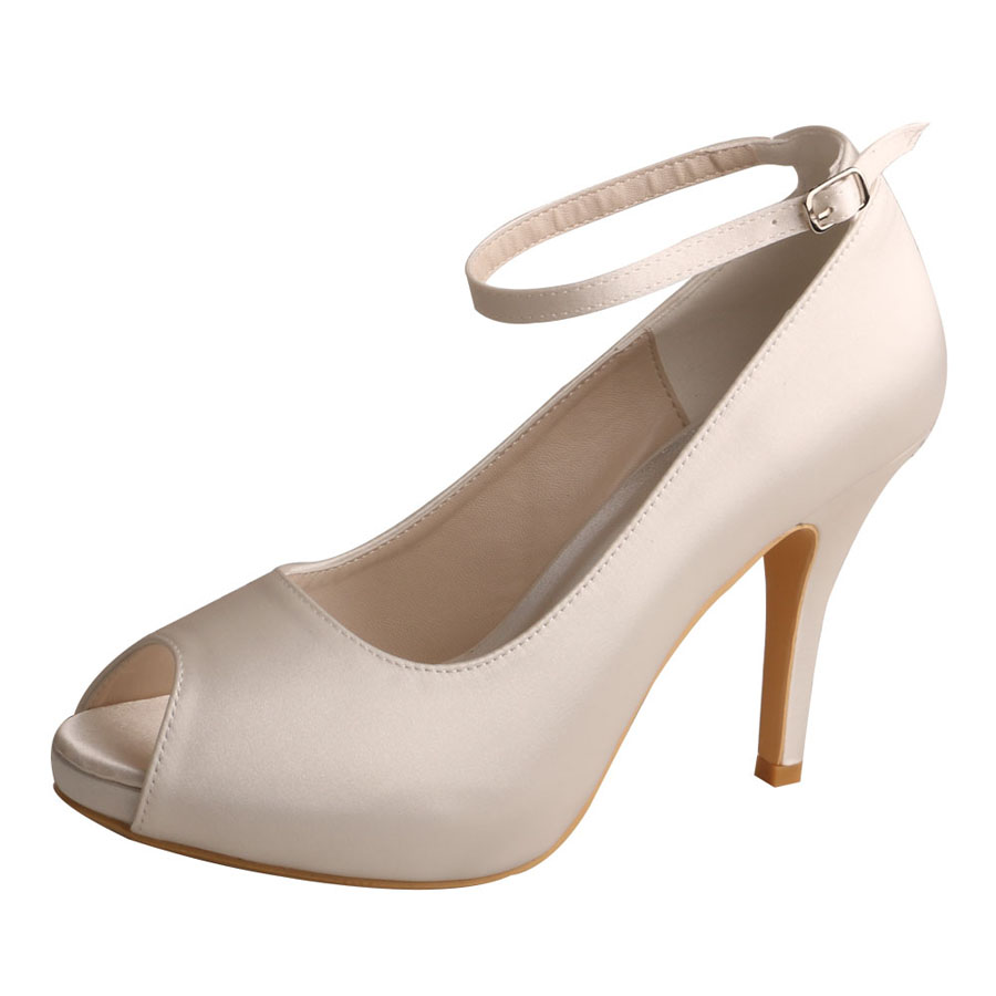 Peep Toe Ankle Strap Ivory Shoes For Bridesmaids