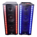 Portable speaker with wheels usb prot wireless microphone