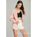 pink casual fashion ladies blazer for Spring Autumn