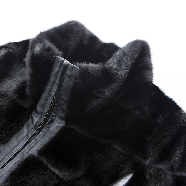 The collar of a black fur cashmere overcoat