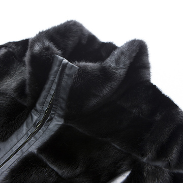 Black fur wool overcoat