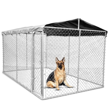 DIY chain link dog kennel with waterproof cover