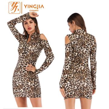 Women Sexy Bodycon Print Leopard Long Sleeve Dress