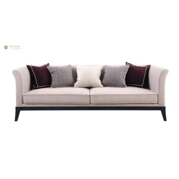 Light Fabric Cushion Sofa With Solid Wood Legs