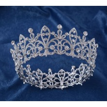 Beauty Alloy and Rhinestone Full Round Crown For Queen