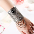Antique Silver Metal Alloy Tassel Cuff Bangle Bracelets