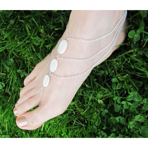 Elliptical Shell Toe Chain Footlet Fashion Models Multi Chain Anklet Ladies