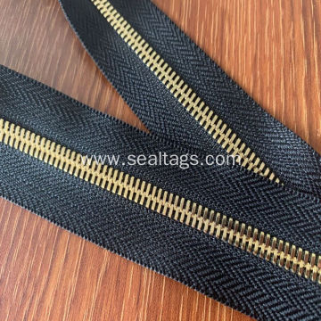 Large Brass Rhinestones Metal Lace Embroidery Zipper