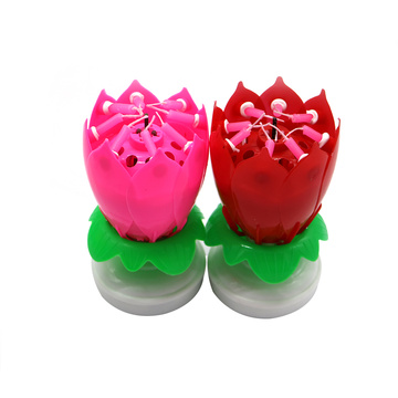 popular magic lotus cake flower birthday music candle