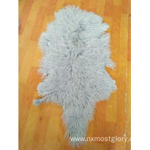 Curly long hair Mongolian sheep fur pelt real Lamb fur skin