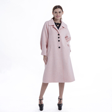 Pink single breasted cashmere coat