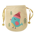 Christmas sack with bright yellow little bird pattern