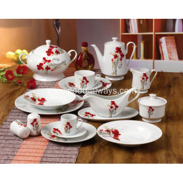 White Porcelain Dinnerware Little Flower