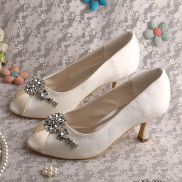 Open Toe White Bridal Heels with Crystal Brooch