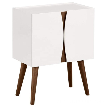Modern Lacquer Wood Cabinet Glossy White Nightstand