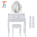 modern white wooden dressing table with mirror and stool