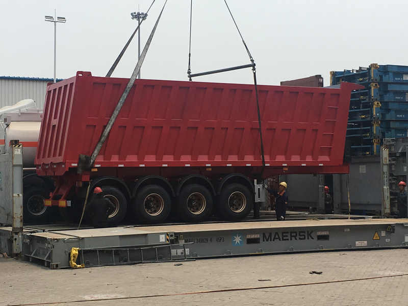 4 Axle Semi Dump Trailer Red Color