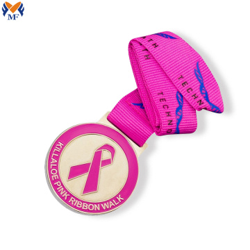 Custom pink ribbon cancer medals
