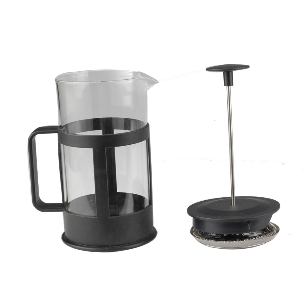 Black Plastic Frame Glass French Press With Filter