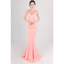 Tail evening dress, noble company, annual dinner, evening dress, women, elegant temperament, elegant temperament