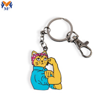 Custom hard enamel cat keyring