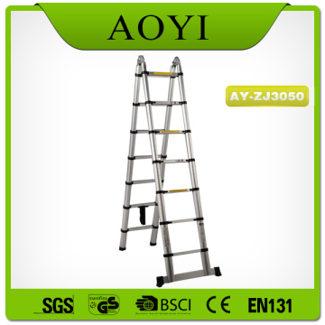 Double side 5m aluminum telescopic ladder