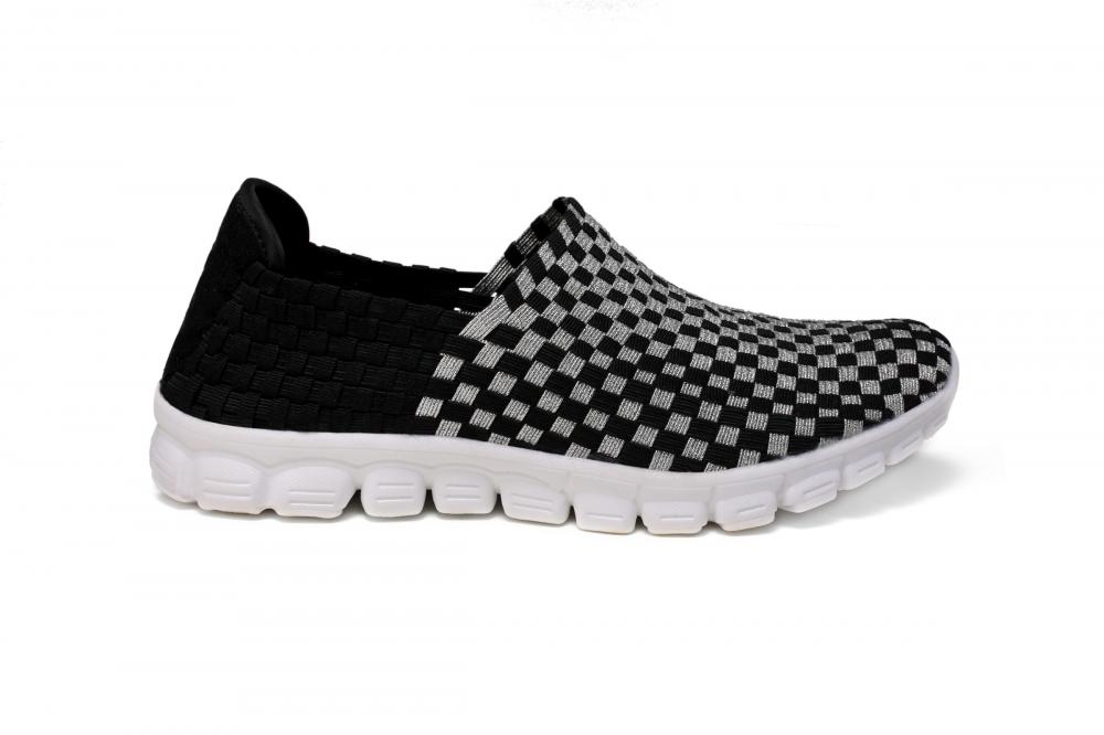 Black Silver Interwoven Upper Loafers