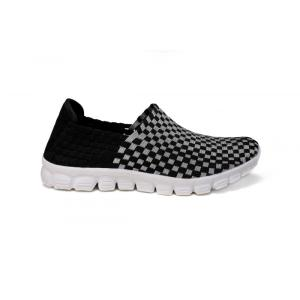 Flexible Black Silver Interwoven Upper Loafers For Outdoor