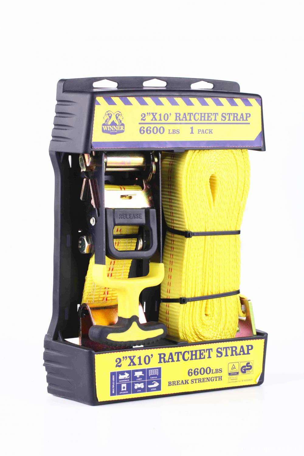 Packaged One Set Ratchet Tie Down Belt Set with 3000KGS