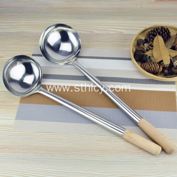 Stainless Steel Soup Ladle With Wood Handle