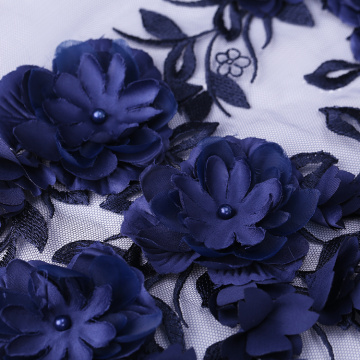 Dark Purple 3D Flower Lace Embroidery Fabric