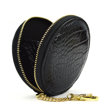 Women Genuine Round Pu Leather Zipper Coin Purse