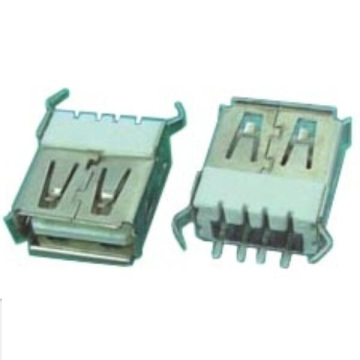 USB A Type Receptacle Straight Dip Half Shield