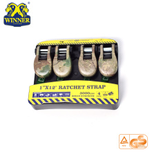 High Quality for Cargo Securing Strap 4PC 1 Inch Package Camouflage Ratchet Tie Down Strap export to Australia Importers