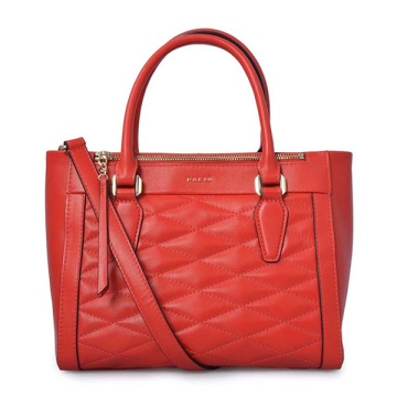 Large Zip-Top Bedford Tote Red Quilted Leather Bag