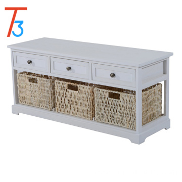 footstool wicker basket drawers cushion seat storage bench