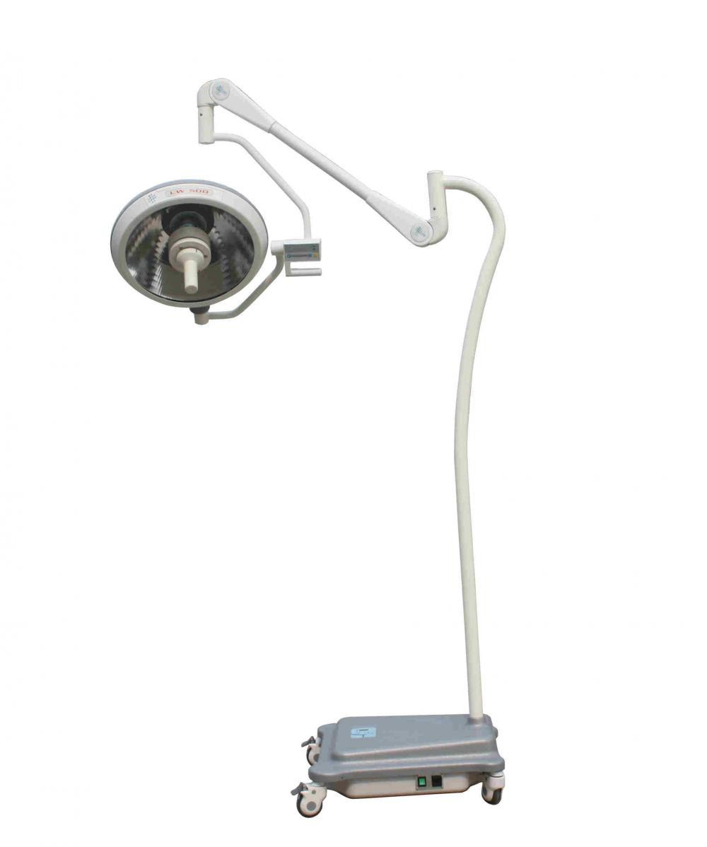 Mobile halogen operation light with battery