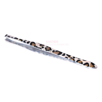 Leopard print pattern stainless steel eyebrow tweezers