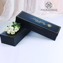 Gold stamping black cardboard flower box