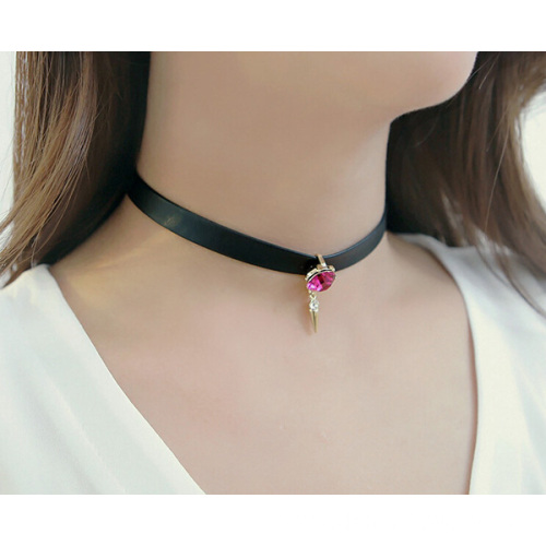 Leather Rhinestone Necklace Black Tattoo Choker Necklaces