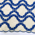 Royal Blue Flower Embroidery On Mesh Fabric