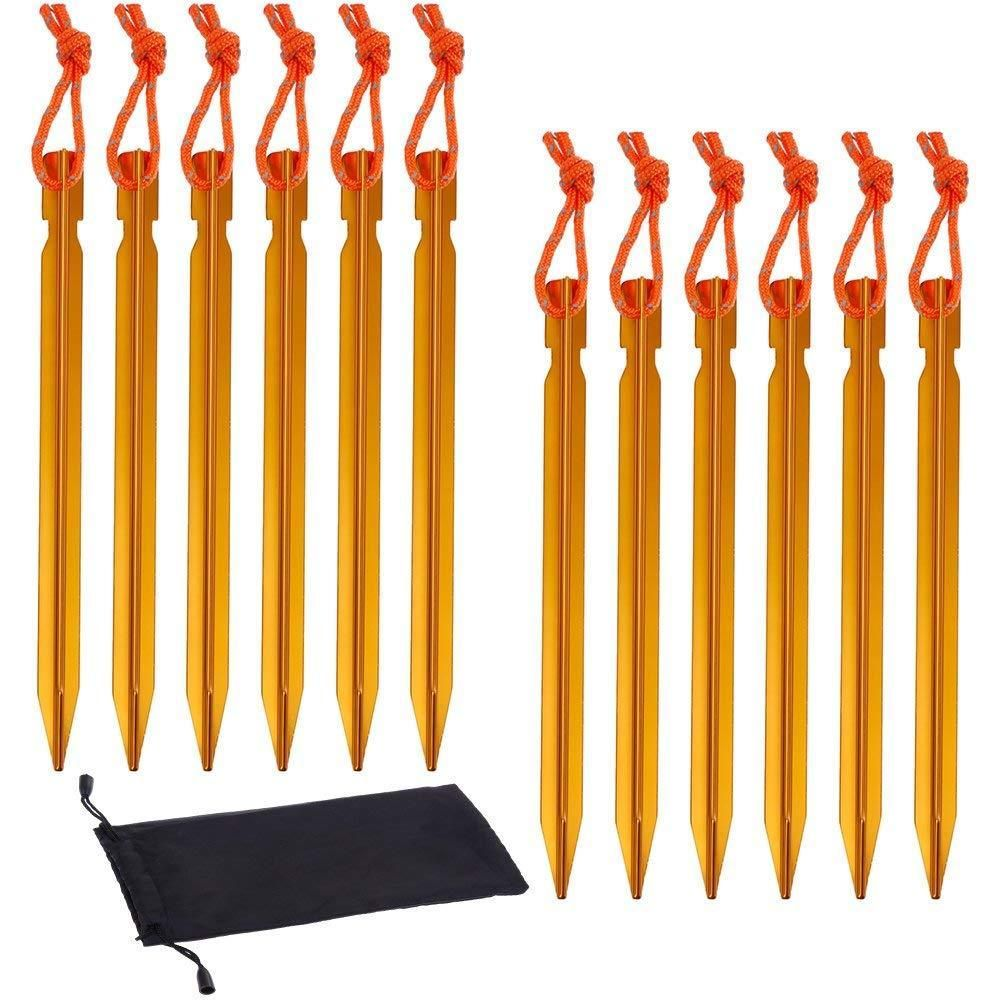 12pcs Gold Aluminum Tent Stakes Pegs