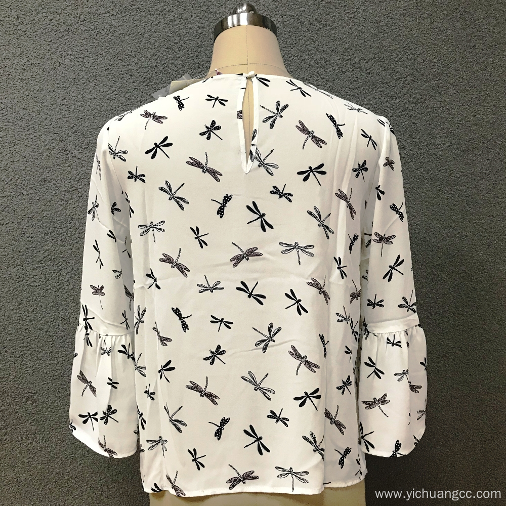 Women's polyester printed casual blouse