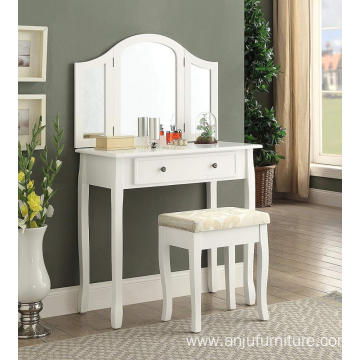 Furniture Sunny White Wooden Vanity Make Up Table and Stool Set