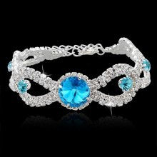 20 Years manufacturer for Fashion Women Bracelets Silver Plated Austrian Blue Crystal Bracelets Wedding export to Iraq Factory