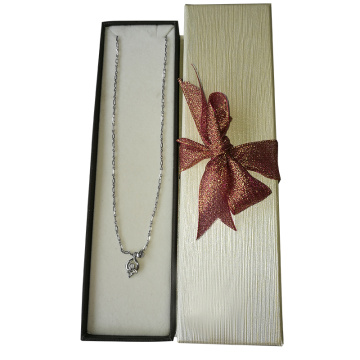 Fancy Girly Velvet Silver Storage Necklace Paper Box
